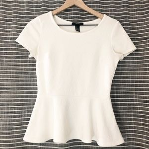 Forever 21 | White Quilted Peplum Shirt